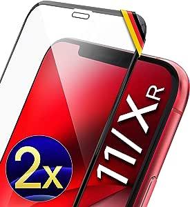 """UTECTION 2X Cristal Templado 3D para Phone 11, iPhone XR (6.1"""") - con Marco de instalación - Full Screen Protector de Pantalla 9H, Anti-Golpes, Sin Burbujas - Vidro Templado Cristal Blindado Negro"""