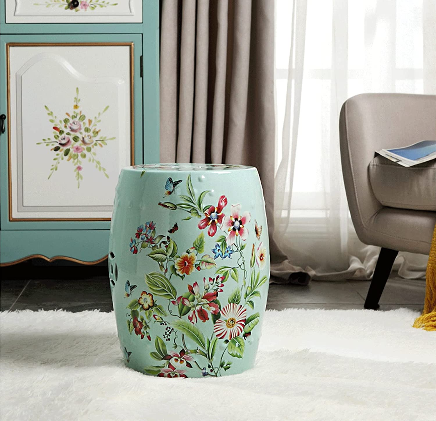 Garden Stool, Ceramic Glazed Craft, Easy to Clean New Chinese Style Living Room Porcelain Furniture, Max Load-Bearing 240 Lbs and Waterproof, L11.4 X W13.8 X H18.4
