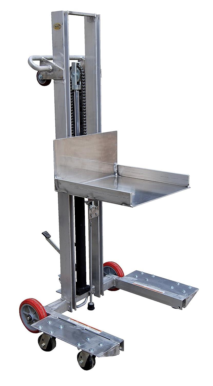 Vestil ALLPH-500-4SFL Alum Low Profile Lift 400 lb Platform 20 x 19-1//2 Mold On Rubber Overall 37-7//16 Width x 29-13//16 Length x 68-15//16 Height Capacity Height Range 1//4-48-1//4