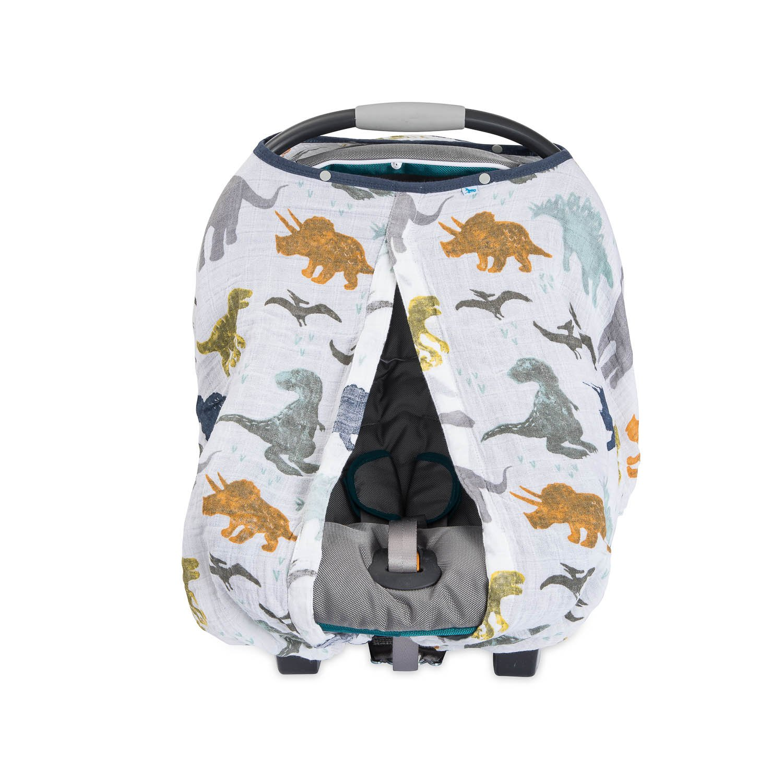 Amazon.com: Little Unicorn Cotton Muslin Car Seat Canopy - Dino Friends: Baby