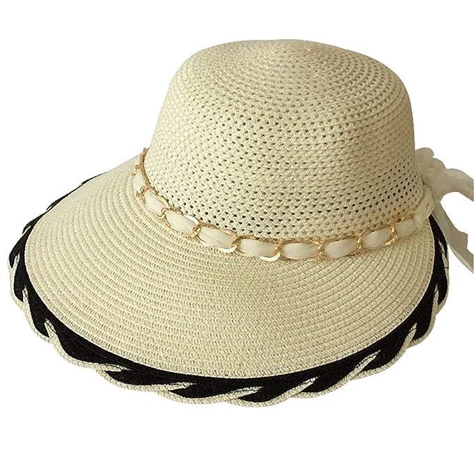 5ec1543a02a65 Sombrero para El Sol Elegante para Viaje Mujer Ocasional Sombrero En Verano  Outdoor con Sombrero Casco para El Sol Sombrero De Paja con Protección  Solar En ...
