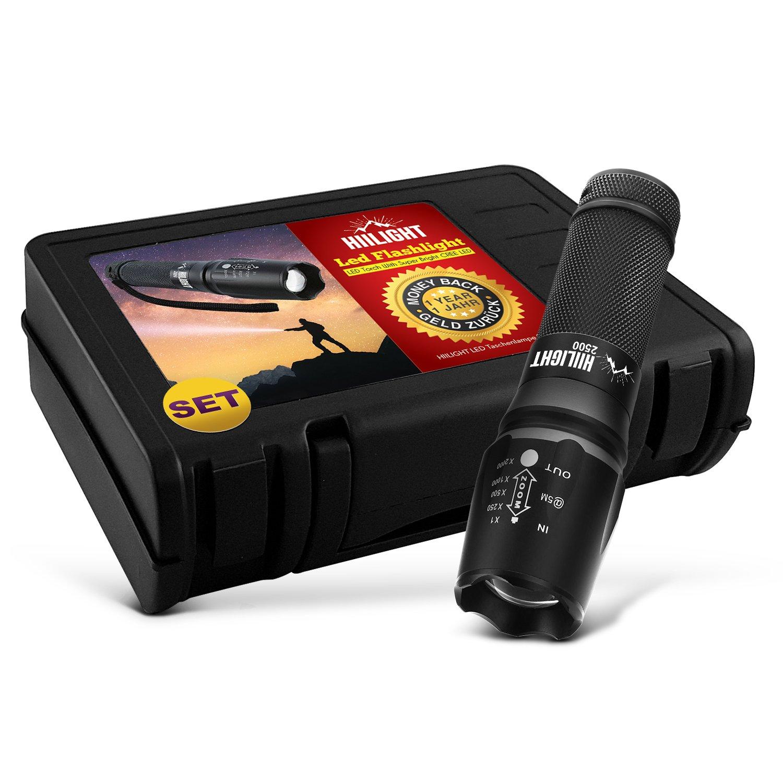 HIILIGHT LED Taschenlampe 2500 Set Extrem Hell + Akku 26650 + USB-Ladegerät - CREE XM-L T6, Zoombar, Einstellbarer Fokus, Mit Zoom Modus Für Noch Mehr Reichweite