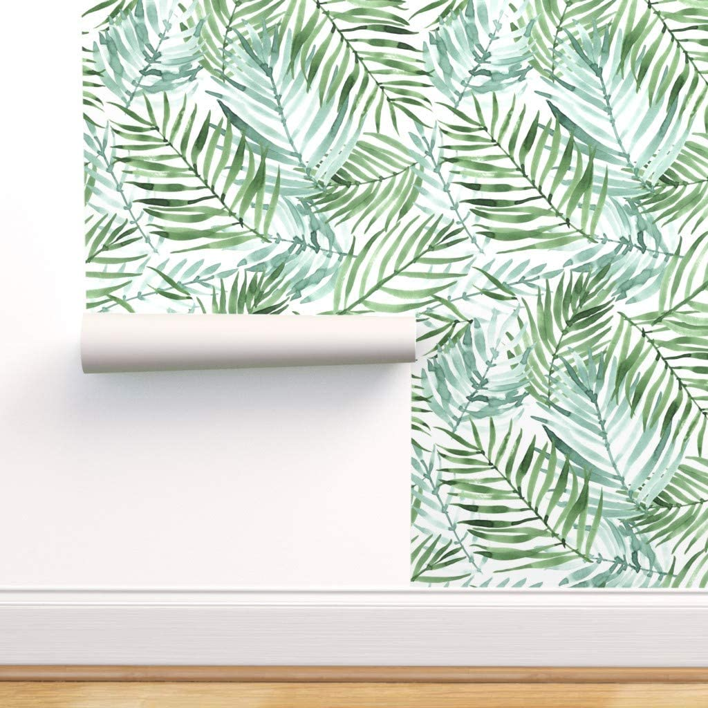 Peel-and-Stick Removable Wallpaper Tropical Leaves Watercolor Summer Jungle