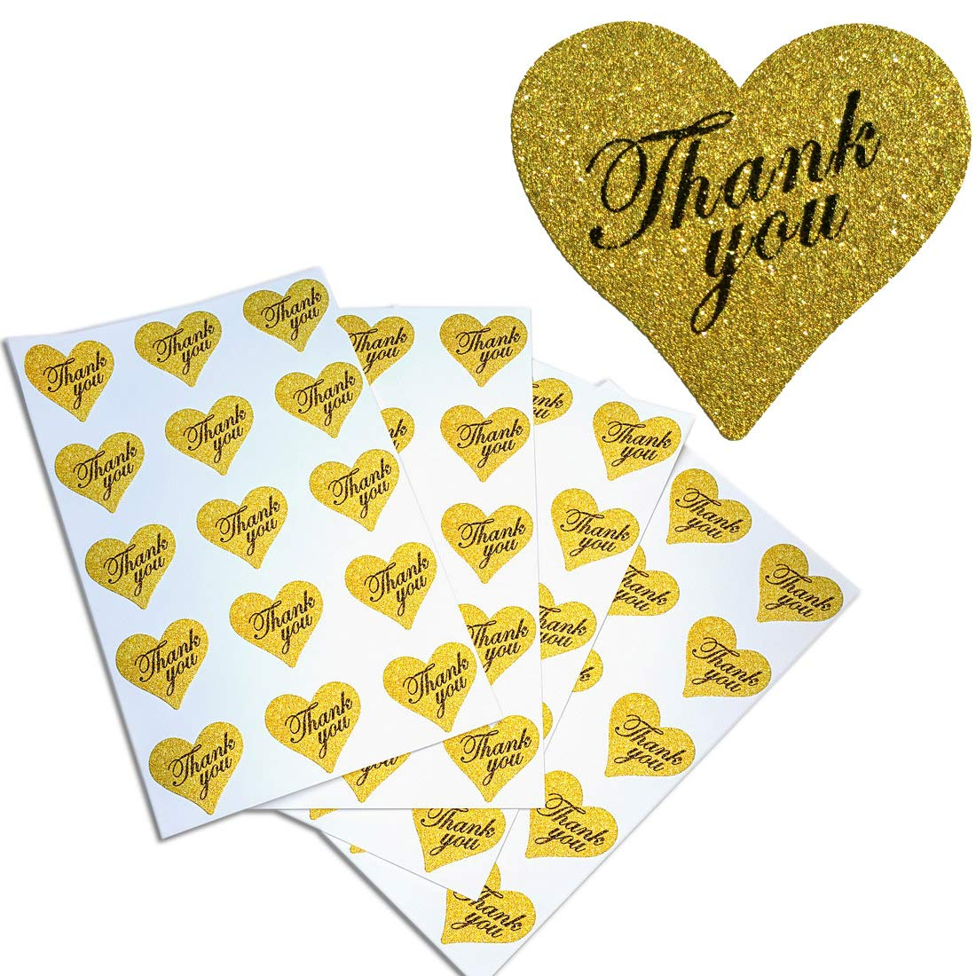 Royal Green Heart Stickers Thank You in Gold Glitter – Heart Shaped Labels 1.5 x1.75 inches – 150 Pack