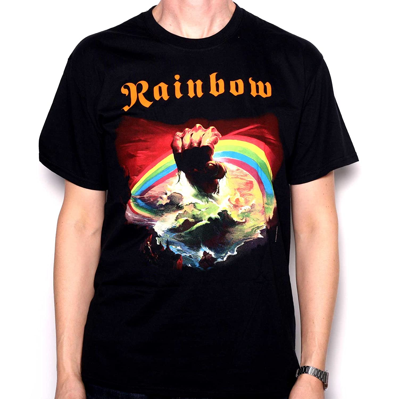b25b795b363f Rainbow T Shirt - Rainbow Rising 100% Official Full Colour Screenprinted  Merchandise  Amazon.co.uk  Clothing