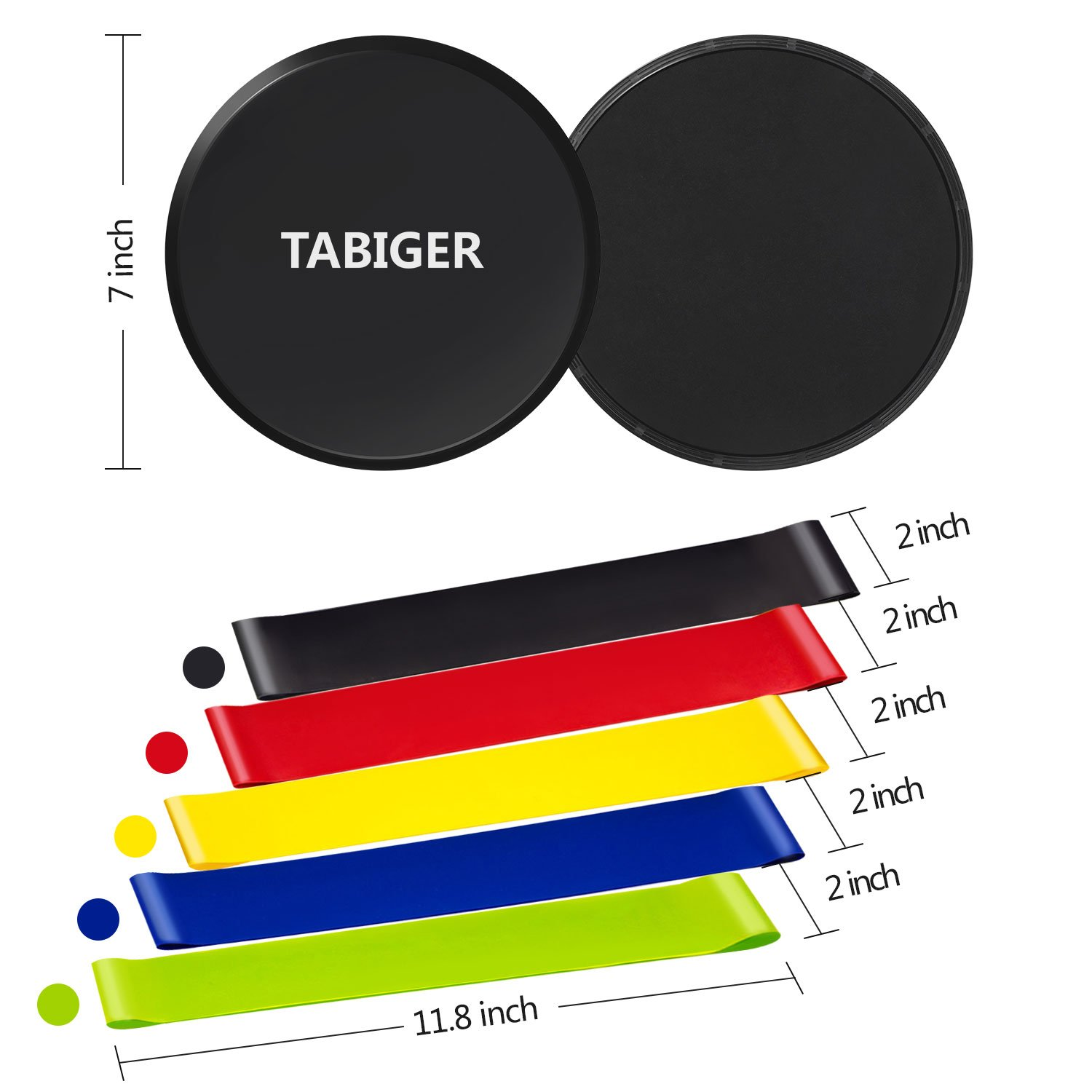 Tabiger Resistance Bands for Legs and Butt, Core Sliders and Resistance Bands Set, 5 Fitness Bands and 2 Gliding Discs with Carry Bag for Sport, Abdominal Exercise, Strengthen, Physical Therapy by Tabiger (Image #2)