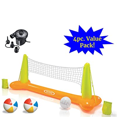 JOEY'Z Ultimate Pool Party Volleyball Set - Floating Inflatable Pool Volleyball Game with High Speed Air Pump & Two Beach Balls (4 Piece Bundle): Toys & Games
