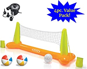 JOEY'Z Ultimate Pool Party Volleyball Set - Floating Inflatable Pool Volleyball Game with High Speed Air Pump & Two Beach Balls (4 Piece Bundle)