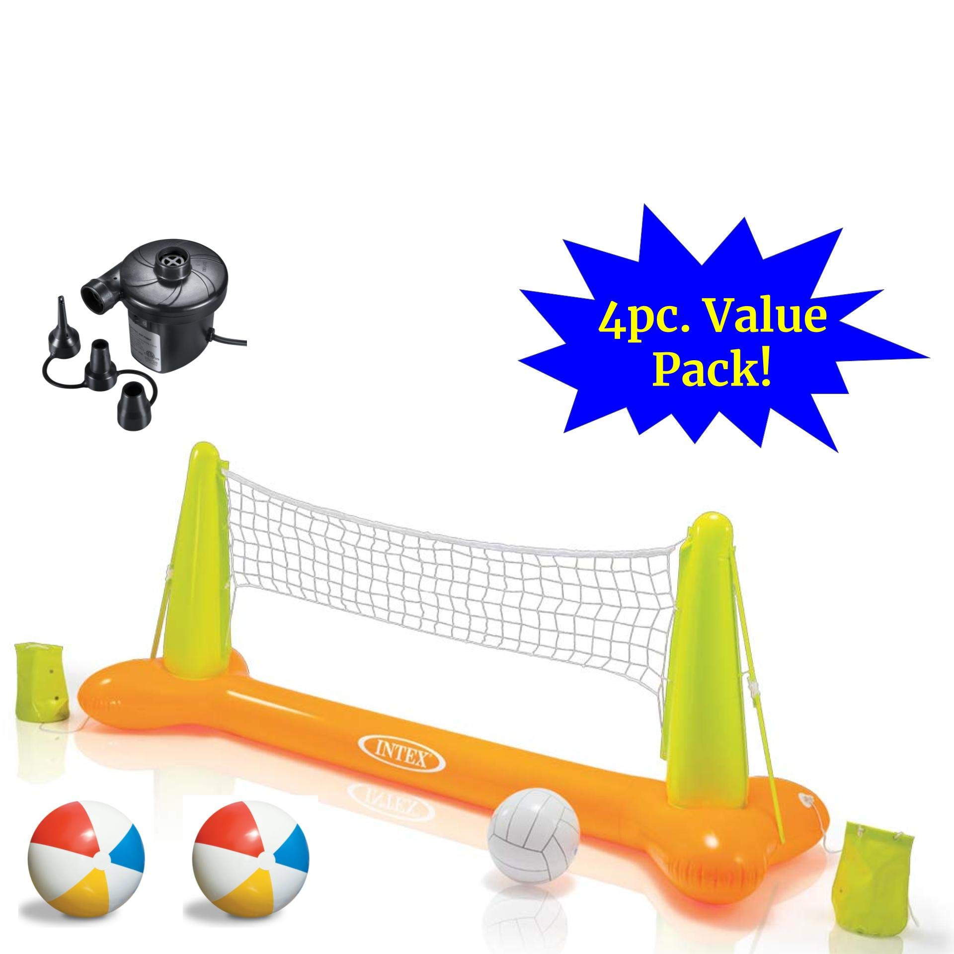 JOEY'Z Ultimate Pool Party Volleyball Set - Floating Inflatable Pool Volleyball Game with High Speed Air Pump & Two Beach Balls (4 Piece Bundle) by JOEY'Z
