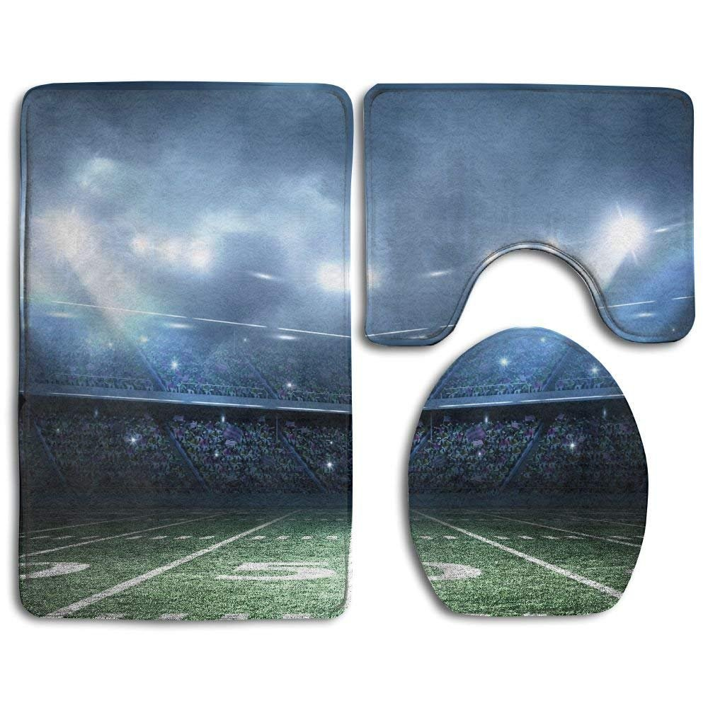Siwbko American Football Stadium Bathroom Rug 3 Piece Bath Mat Set Contour Rug and Lid Cover