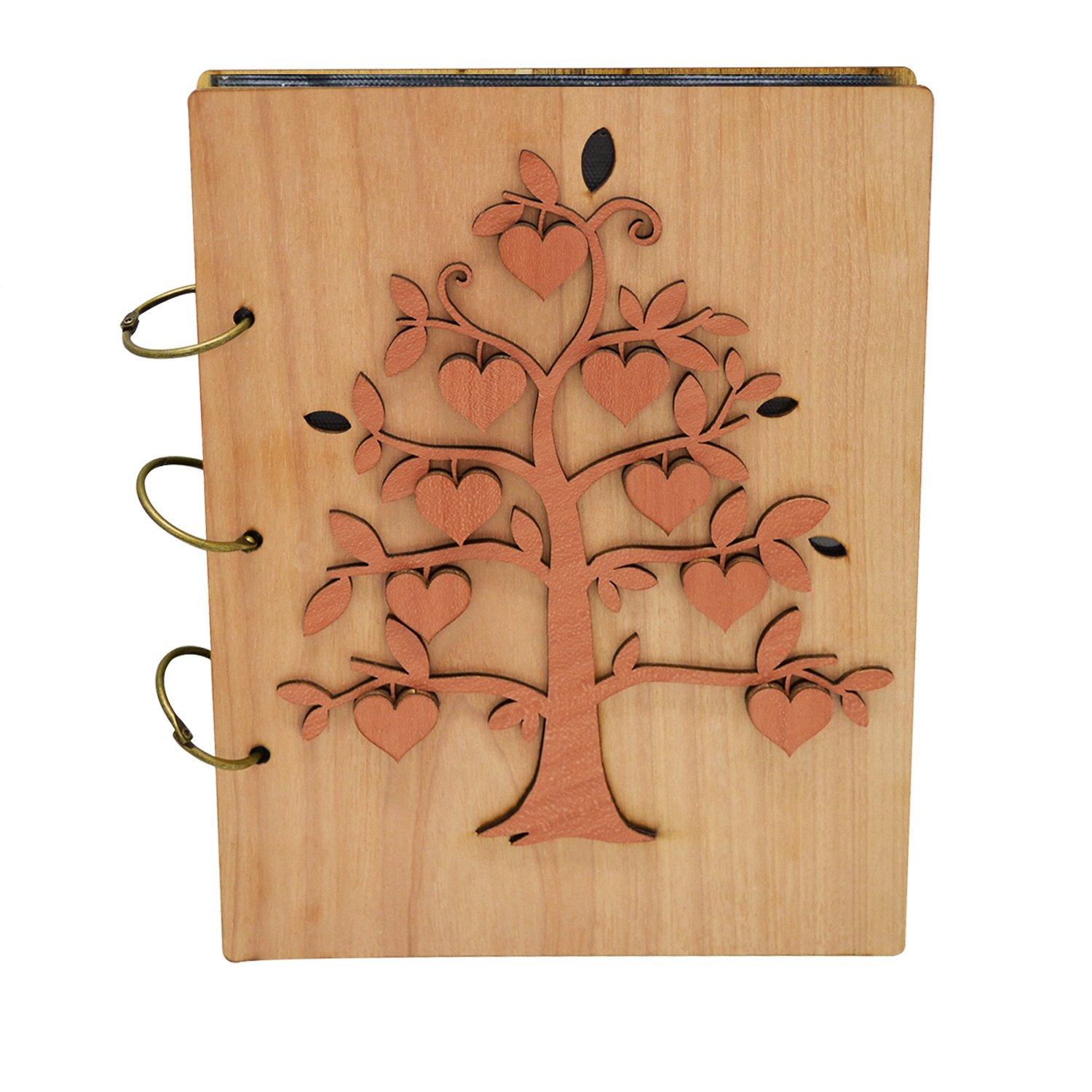 Giftgarden Family Tree 5x7 Photo Album Wood Photo Book 120 Pockets