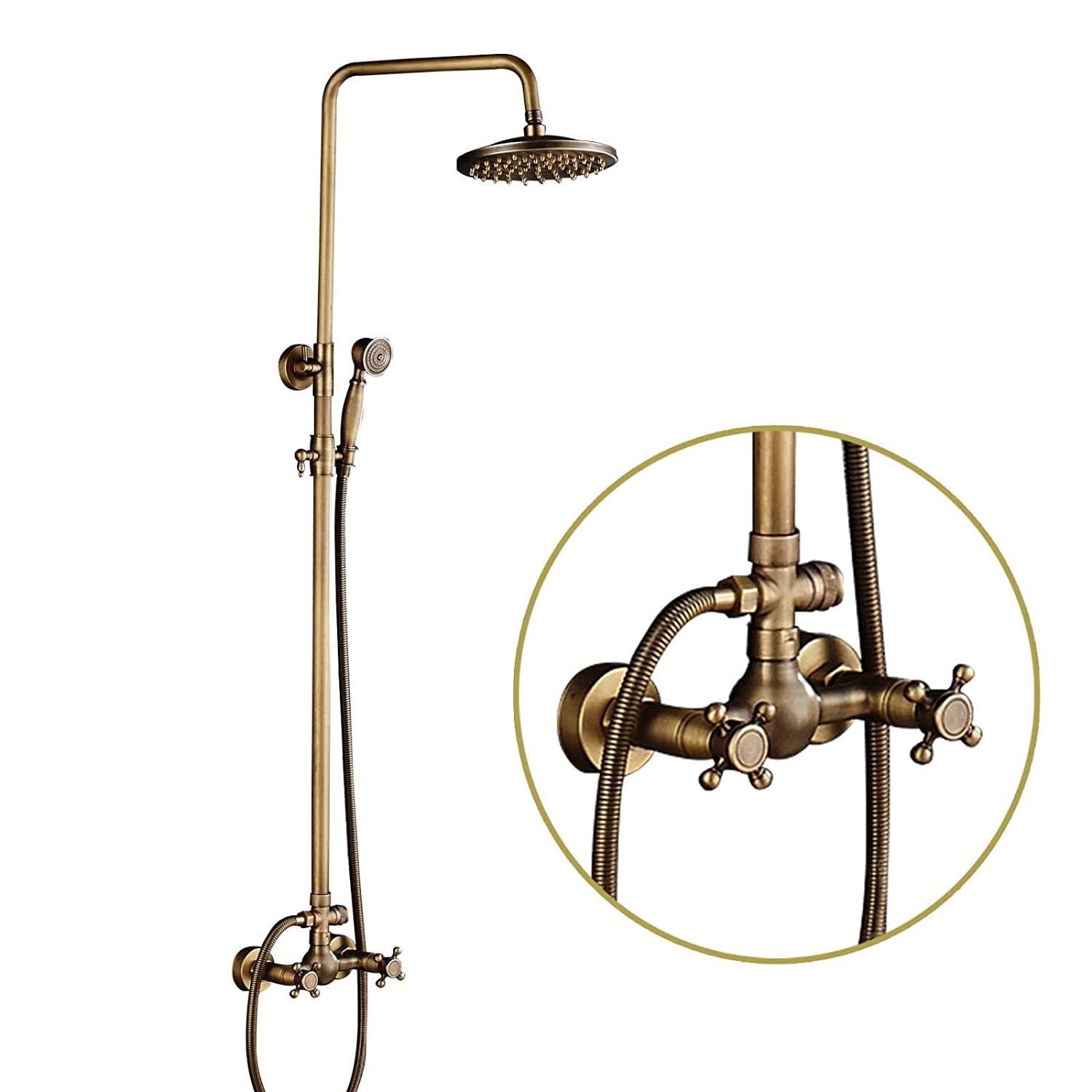 Rozin Antique Brass Shower Faucet Set Brass Handheld Shower Tap Rainfall Head Wall Mounted