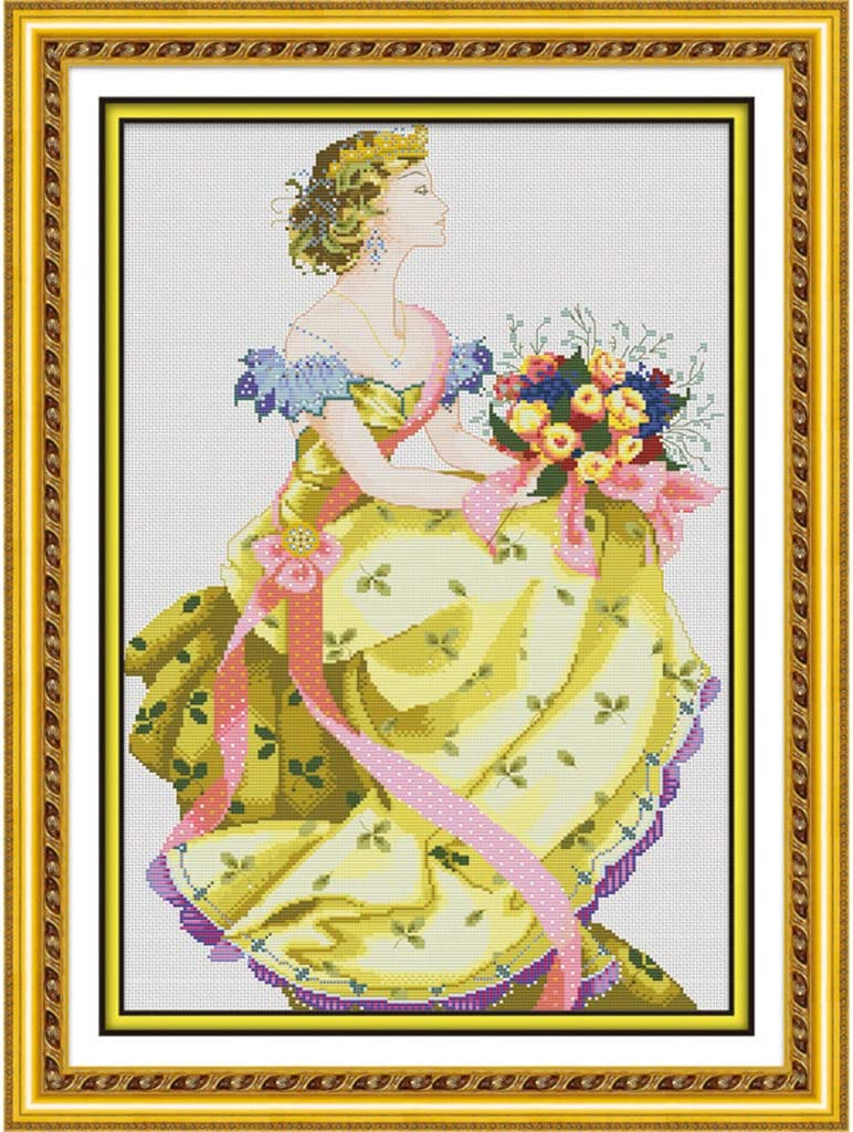 perfektchoice 1pcs Spring Queen Pattern 11 Counted Cross Stitch Kit for Bedroom Wall Decor