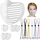 3D Mask Bracket with Multicolour Mask Lanyard Set [12 Pack: 6+6PCS] for Adults and Kids, Face Bracket Supports…