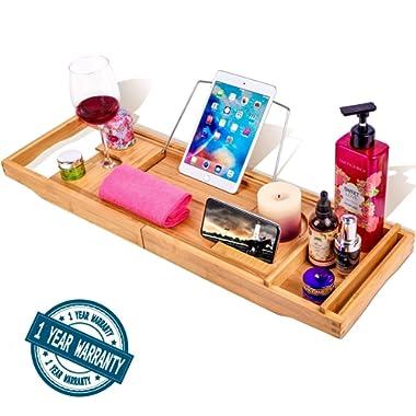 BAMBUROBA Bathtub Caddy Tray Bamboo Bathroom Organizer with Expandable Sides Holder for Book Glass Towel