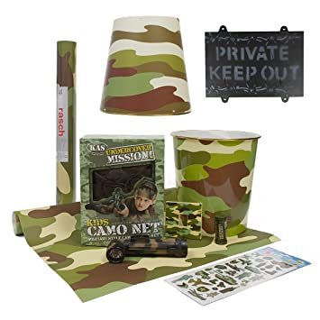 Kids Army Bedroom 10pcs Accessories Kit   Includes Camo Wallpaper   Army  Camouflage Bedroom Ideas