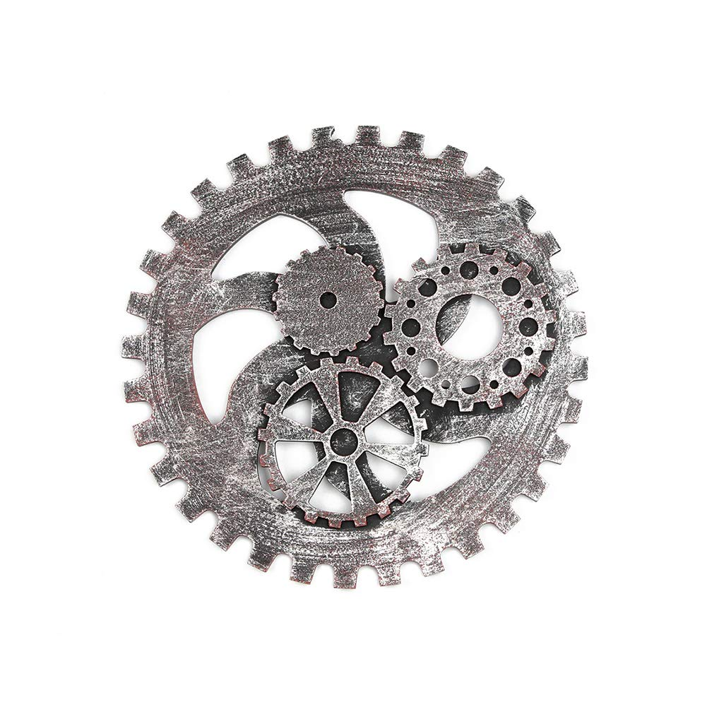 wsloftyGYd 24/32cm Vintage Industrial Gear Series Wall Hanging Decoration for Bar Cafe Home Silver1 32cm