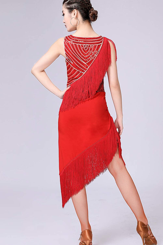 ZLTdream Ladys Latin Tango Rumba Cha Cha Belly Dance Sequin Dress with Underwear Tassel