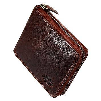 a5c6dffb6fe2d BOCCX Herrenbörse mit Reißverschluss Geldbörse Leder Geldbeutel  Portemonnaie Reißverschlussbörse 50021z präsentiert von GoBago (Braun)
