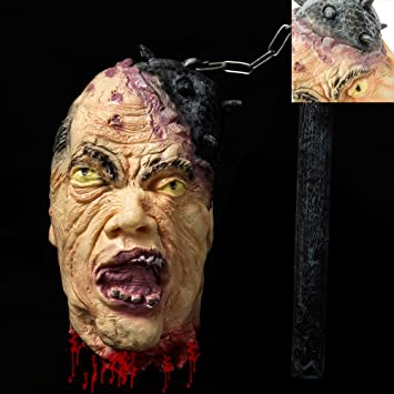 severed head halloween decoration cut off corpse head prop hanging bloody gory latex zombie - Gory Halloween Decorations