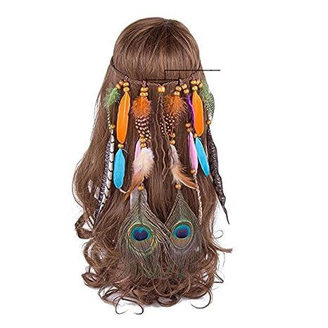 AWAYTR Fascia per capelli Hippie Boho con perline in legno