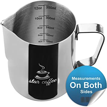 Amazon.com: Jarra para leche espumosa Star Coffee de acero ...