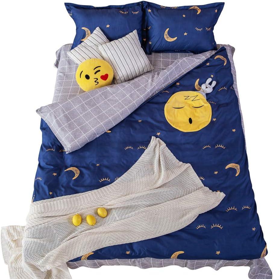 Kid Bedding - Bed Sheets For Boys -Toddler Bed Sheet - Bed Set For Girls - Duvet Cover For Kids - Toddler Bedding - 4 Piece Full Bed Sheets Set With Smiley Emoji Pocket - Toddler Bed Set