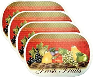4 Pack Deluxe Vinyl Placemat Set Latest Decoration Patterns Non-Slip Foam Ease Wipes Clean (Fresh Fruit)