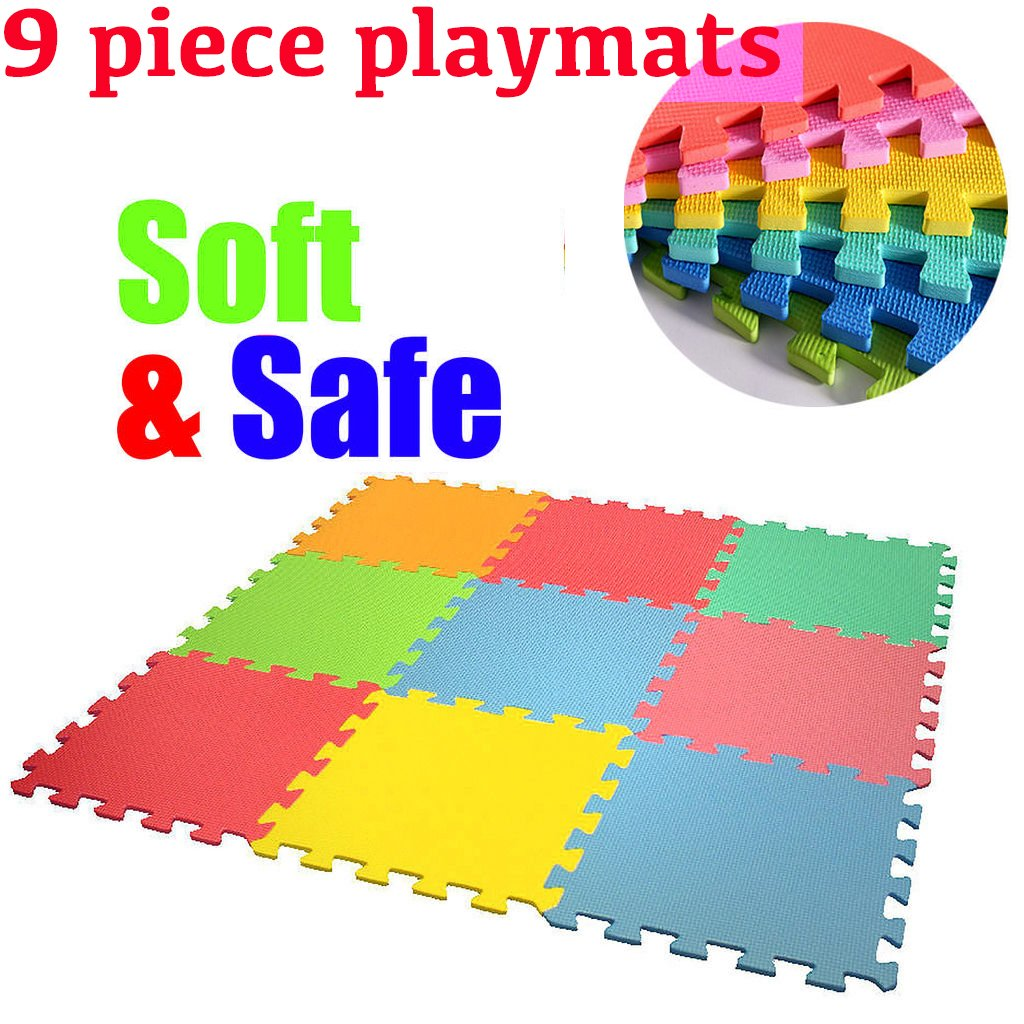 Fineway. 9 Piece Interlocking Soft And Safe Playmats Foam Baby Child Activity- Indoor And Outdoor Fun For All The Family