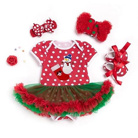YOSEMITE bebé niñas Pelele de Navidad Vestido de Baile Ropa Set, algodón, muñeco de