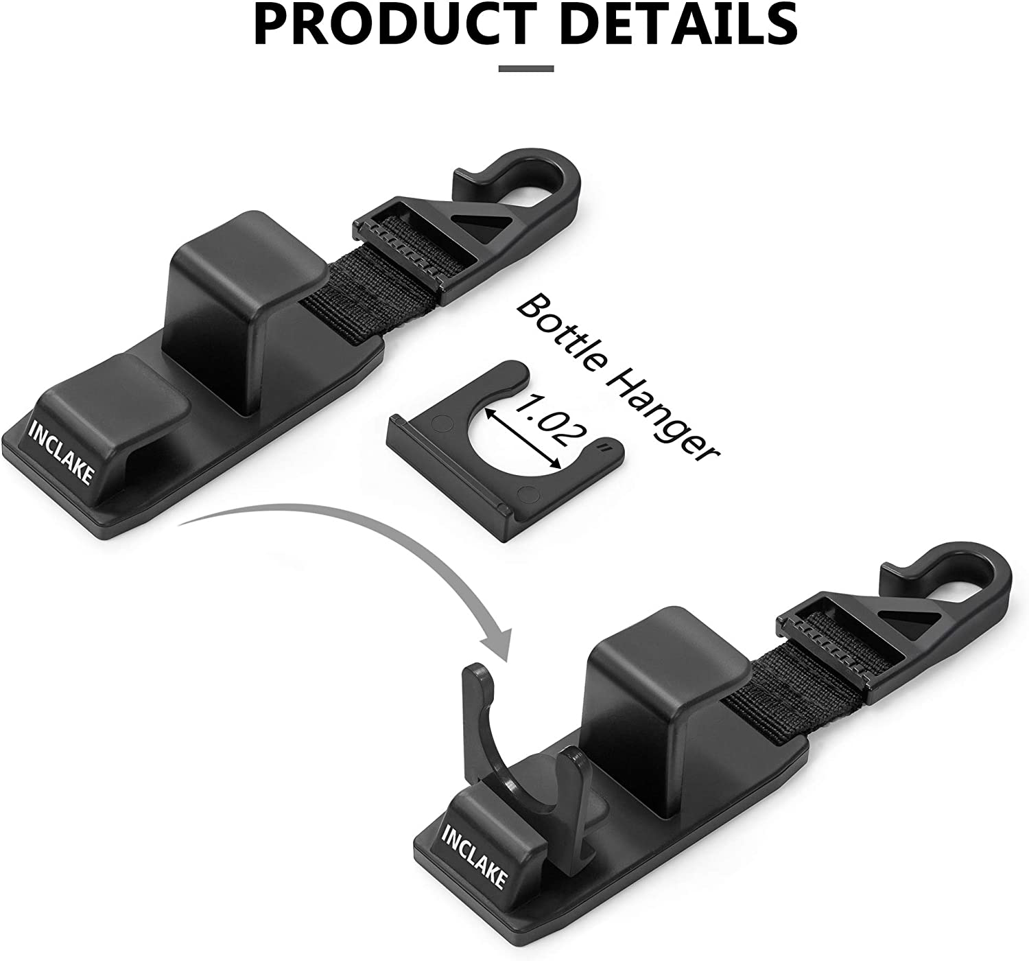 4 PC Laptop Bag Headrest Hooks with Bottle Holder for Car Front Back Seat Strong and Durable Hooks Holder with 33Ib Capacity for Tote Bag Drinking Backpack Universal Shopping Bag