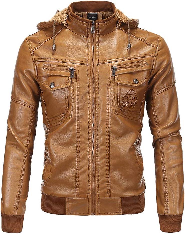Chaquetas de cuero para hombre PU de la vendimia, invierno espesa la prendas de vestir exteriores caliente, motorista de la motocicleta con capucha abrigos de algodón resistente al blusa de la tapa
