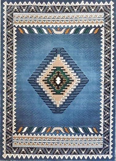 Rustic Southwestern Western Native American Indian Area Rug in Blue – W G 143 Light Blue 8 X10