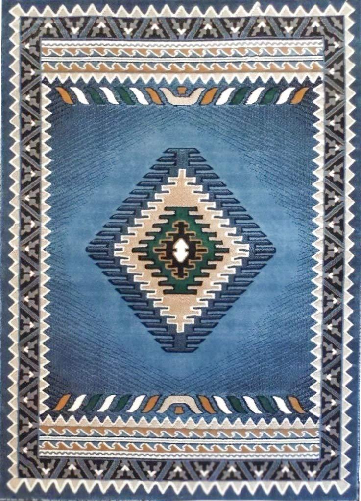 Rustic Southwestern Western Native American Indian Area Rug in Blue - W/G 143 Light Blue (8'X10')