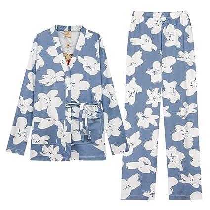 ALUK- Pijamas dulces de manga larga de algodón estilo japonés de primavera chica de kimono