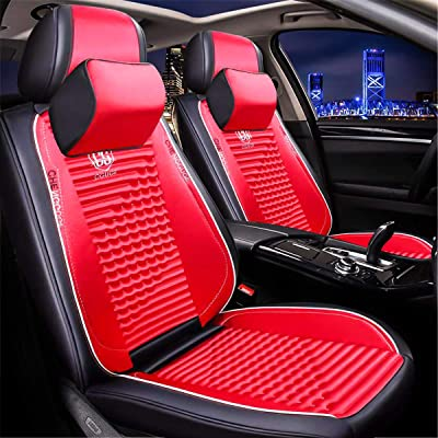 Universal 15 PCS Leather Car Seat Cushion Cover Front and Rear Full Set Seat Pad Airbag Compatible Protector Suitable for All-Year Use (Red): Automotive