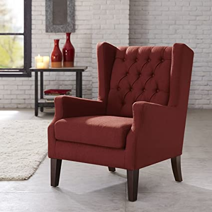 Charmant Madison Park Button Tufted Wing Chair Red/Maxwell