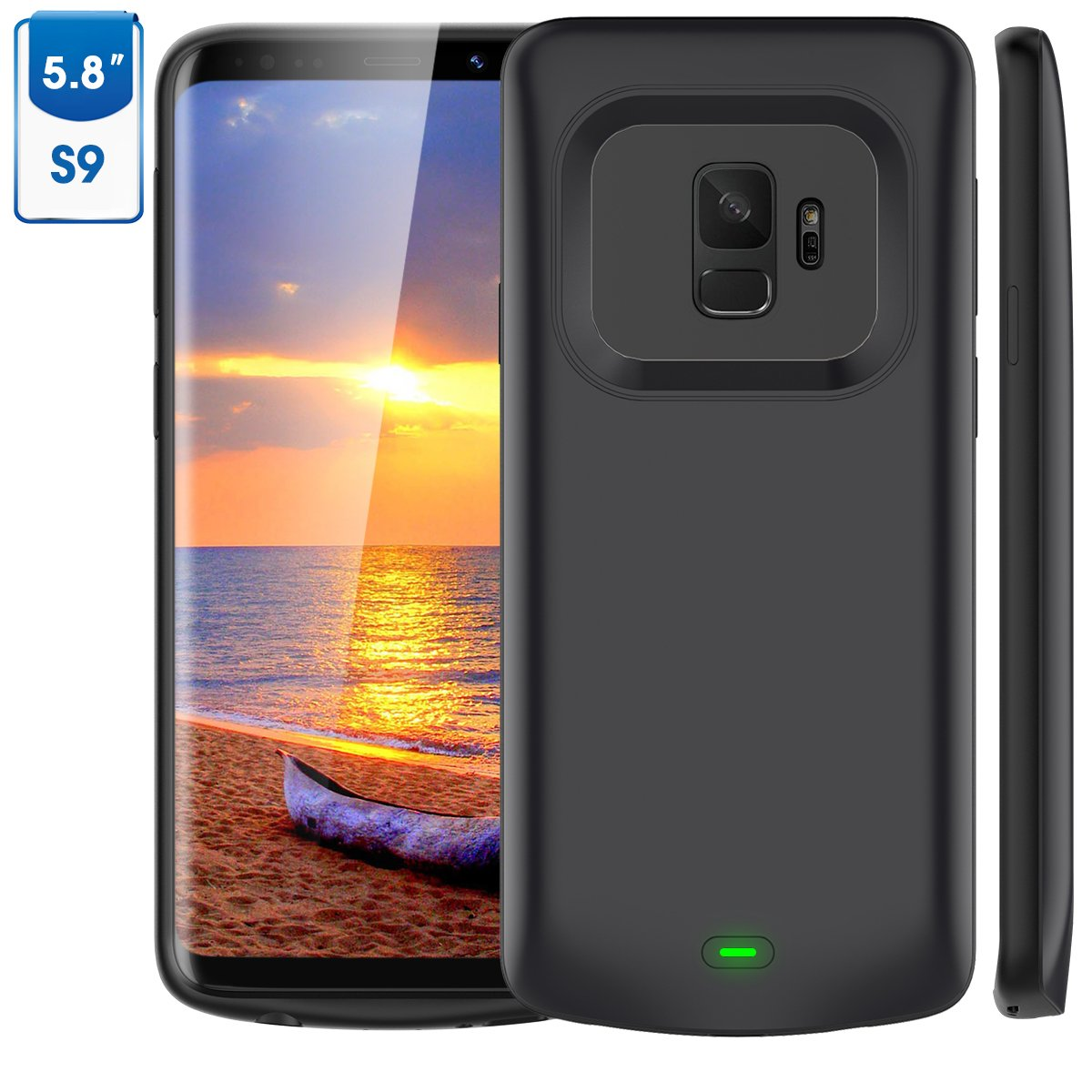 Galaxy S9 Battery Case, Vproof 4700mAh Portable Charger Case Extended Charging Case Rechargeable Protective Backup Power Case for Samsung Galaxy S9 (2018) (Black) XDL-184