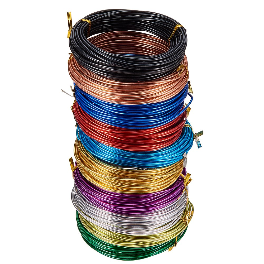 PandaHall Elite 10 Rolls 10 Colors 32 Feet/Roll Aluminum Craft Wire 12 Guage Flexible Artistic Floral Jewelry Beading Wire for DIY Earring Jewelry Craft Making