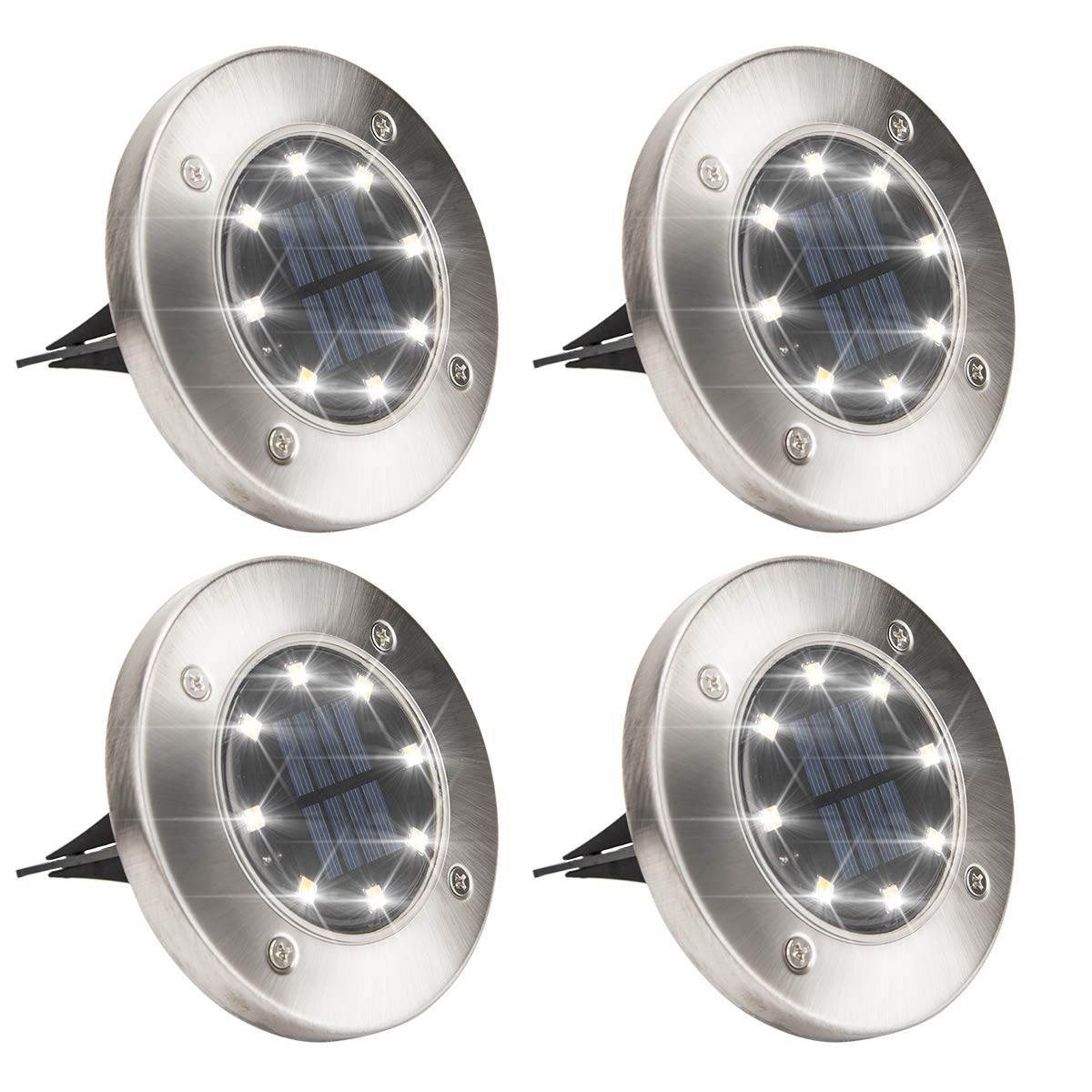 Solpex Solar Powered Disk Lights, 8LED Solar Pathway Lights Outdoor Waterproof Garden Landscape Lighting for Yard Deck Lawn Patio Walkway-White (4 Pack)