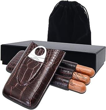 Humidor puros,Estuche para 3 Cigarrillos,Estuche de cigarro,cortador de acero inoxidable de primera calidad incluido: Amazon.es: Hogar