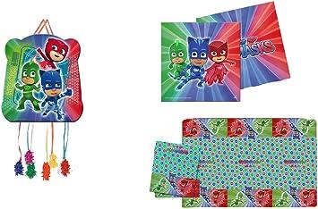 PJ Masks 1120, Pack decoración Fiesta y cumpleaños Compuesto por piñata, Mantel de Fiesta de plástico 120x180 cm y Pack de 20 servilletas: Amazon.es: Juguetes y juegos