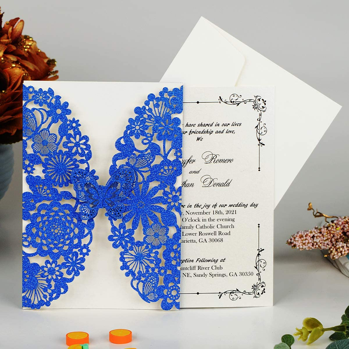 Amazon.com: Hosmsua 50x Blue Laser Cut Lace Flora Wedding Invitation Cards  with Butterfly and with Customized Printed for Bridal Shower Engagement  Birthday Graduation Party (Royal Blue Glitter): Health & Personal Care