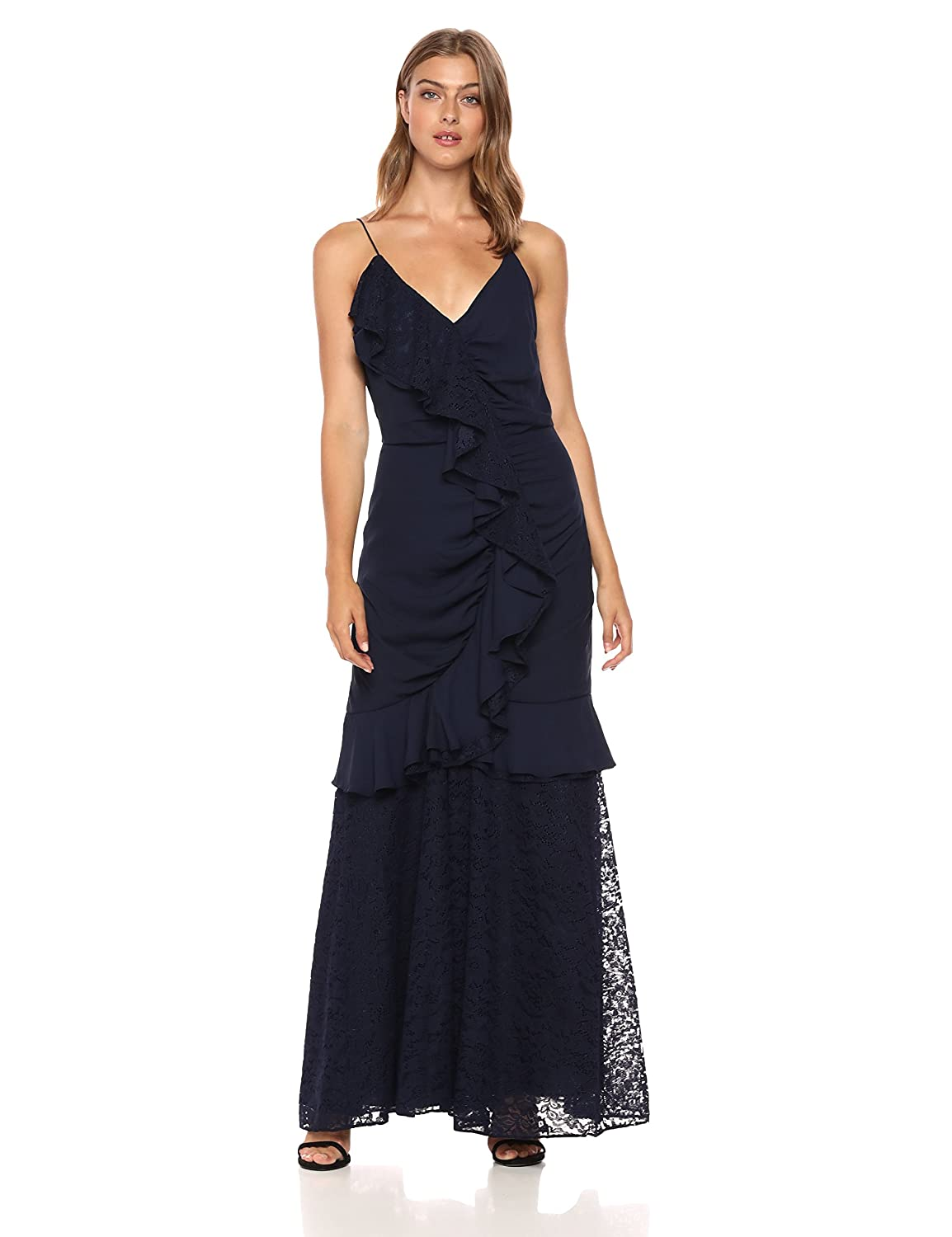 Keepsake The Label Womens All Night Sleeveless V Neck Gown with Lace Ruffle Detail