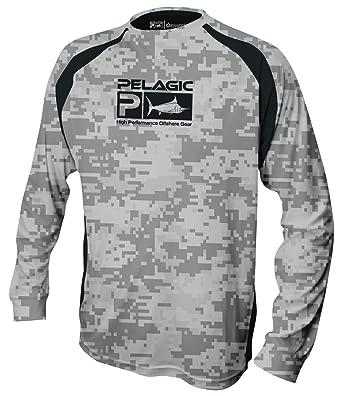 0f2393db Pelagic Men's Vaportek Long Sleeve Fishing Shirt | UPF 50+ Sun Protection |  Digital Camo