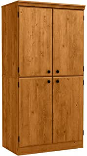 South Shore Tall 4 Door Storage Cabinet With Adjustable Shelves, Country  Pine