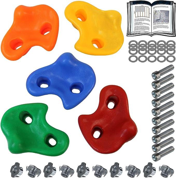 ALPIDEX Presas de Escalada para niños , Capacidad de Carga 200 kg , Material de fijación Incluido , Diferentes cantidades Multicolores - 5 Piezas