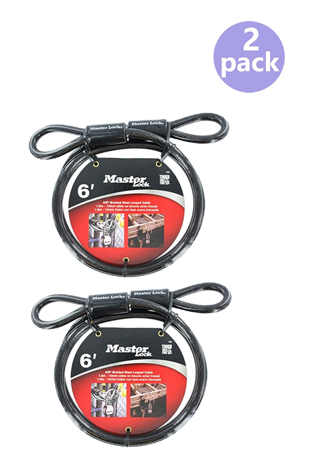 Master Lock 78DPF Looped Cable 6-Foot x 3//8-inch