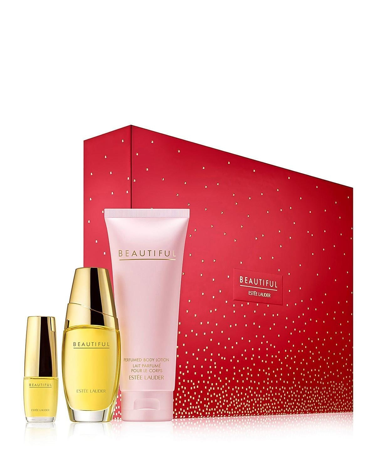 Estee Lauder Beautiful To Go = Set includes:Eau de parfum spray (1 oz.)= Perfumed body lotion (3.4 oz.) = Eau de parfum purse spray (0.16 oz.)