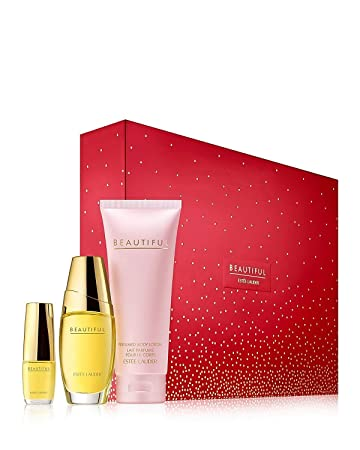 Estee Lauder Beautiful To Go Set includes Eau de parfum spray 1 oz. Perfumed body lotion 3.4 oz. Eau de parfum purse spray 0.16 oz.